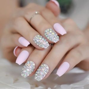 NWT pink & rhinestone nails